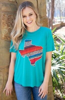 Turquoise Serape & Leopard Texas Patch Shirt