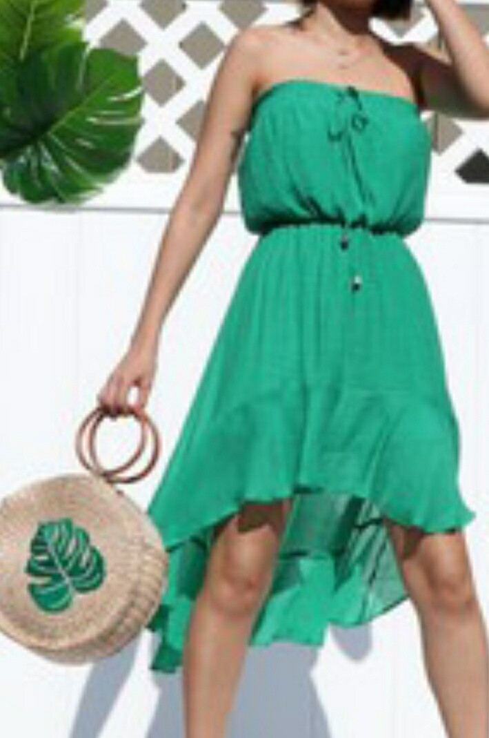 Green Hi Low Woven Dress With Ruffled Hem