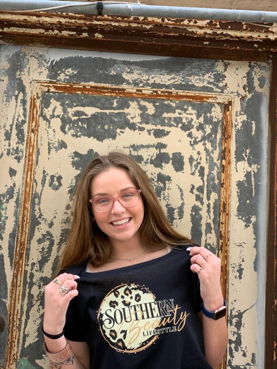 Next Level Black Roll Sleeve Southern Beauty Lifestyle Shirt