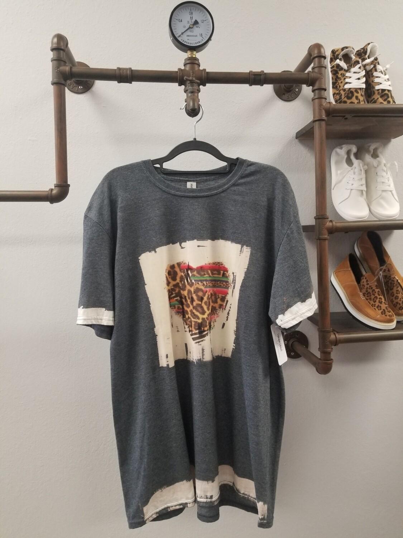 Gray & Bleached Leopard Heart Shirt Size XL
