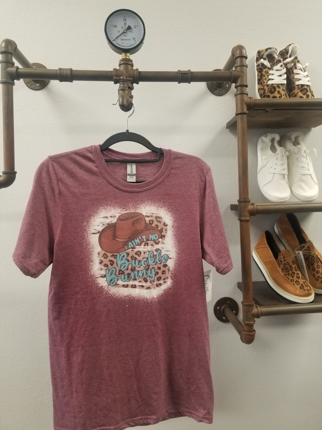 Maroon & Bleached I Ain't No Buckle Bunny Shirt Size S
