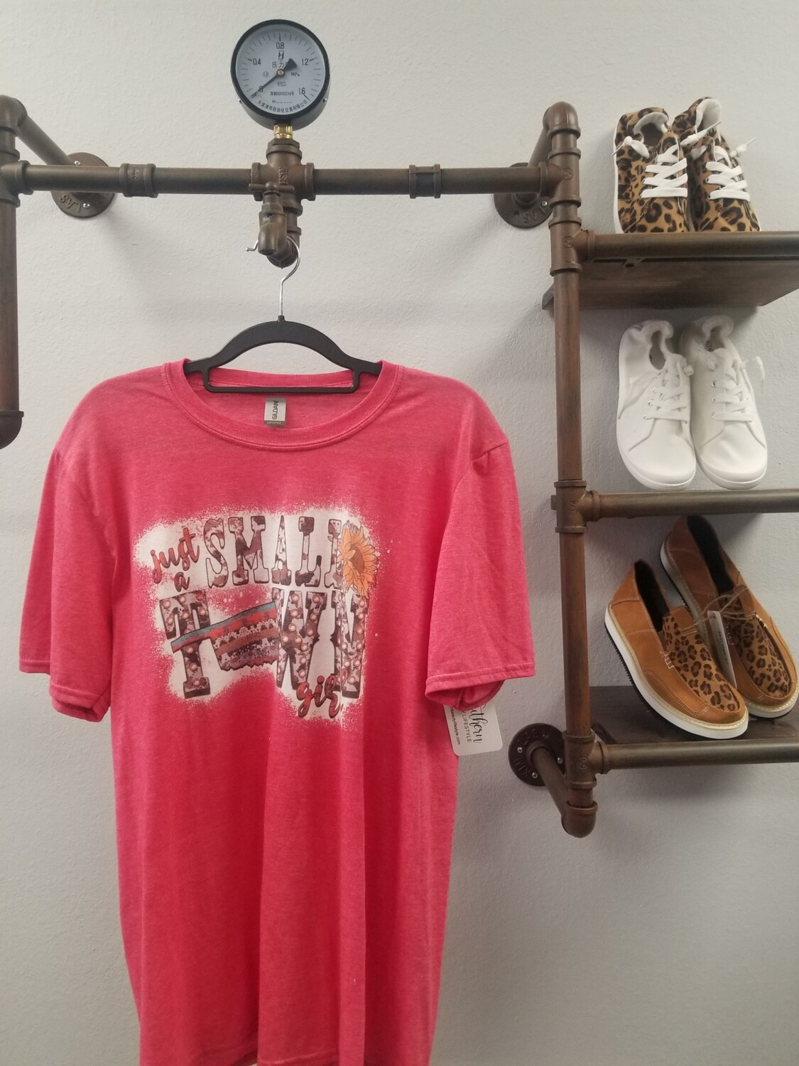 Red & Bleached Small Town Girl Shirt