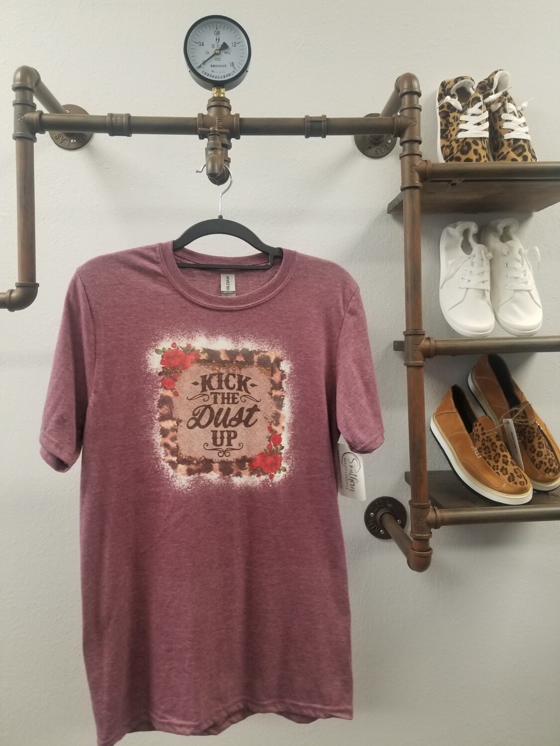 Maroon & Bleached Kick The Dust Up Shirt Size S