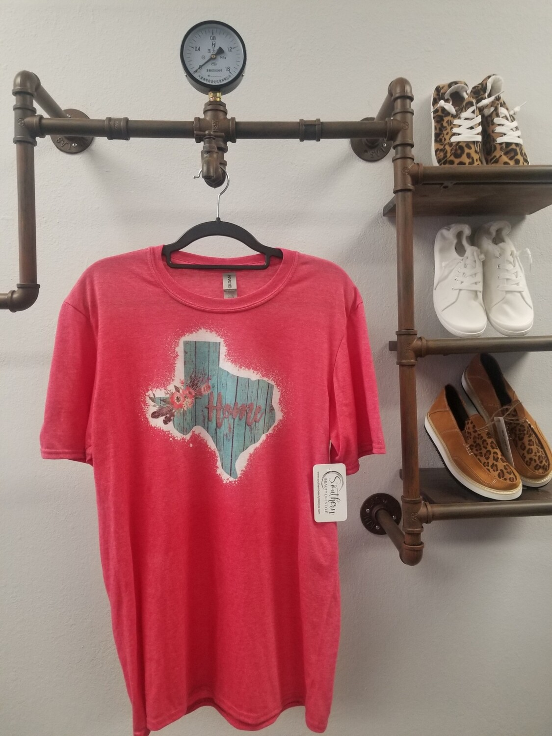 Red & Bleached Turquoise Texas Shirt