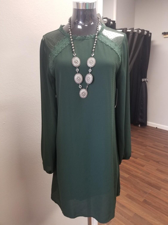 Dark Green Long Sleeve Woven Dress Size M