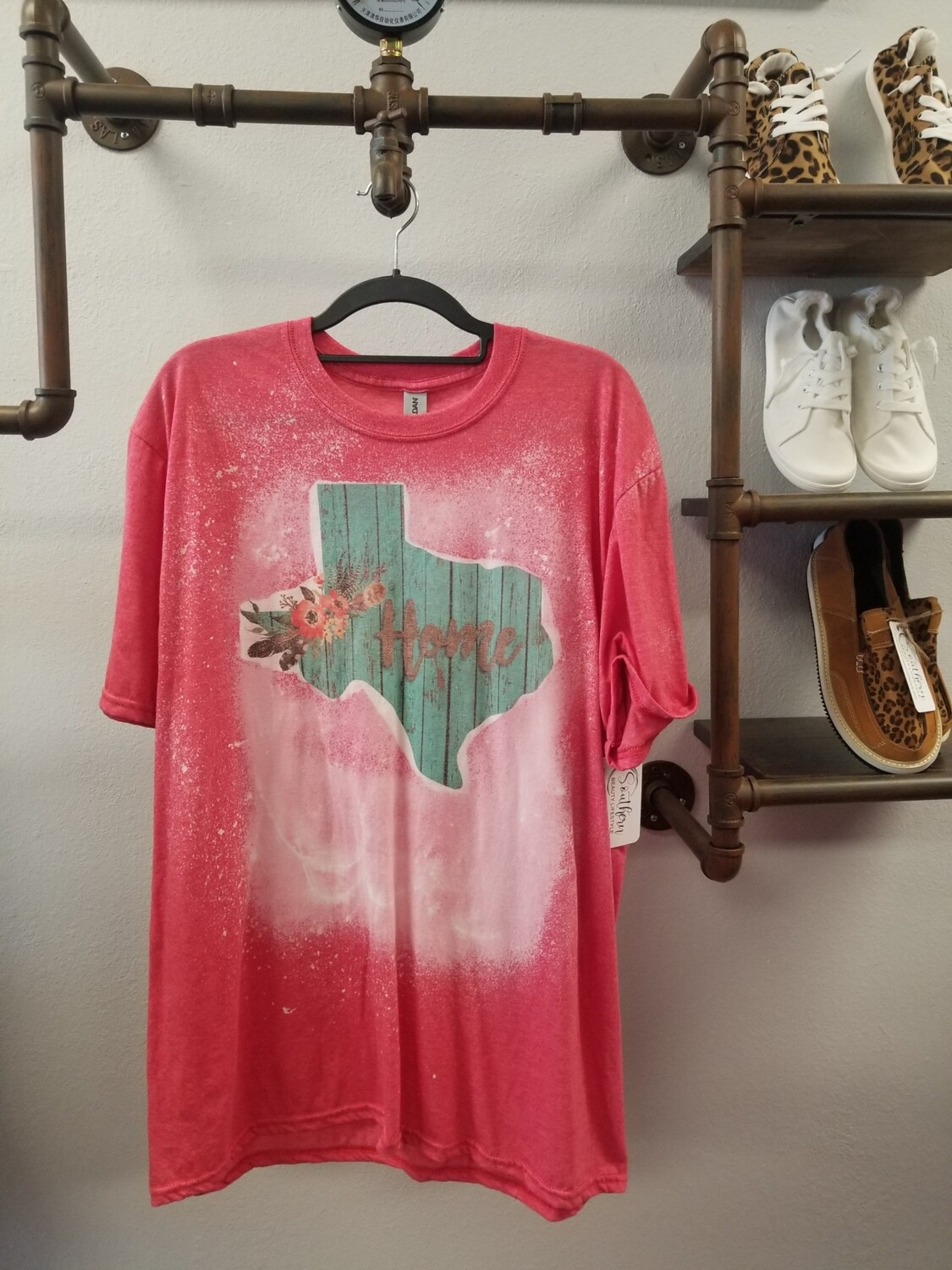 Red & Bleached Turquoise Texas Shirt Size XL