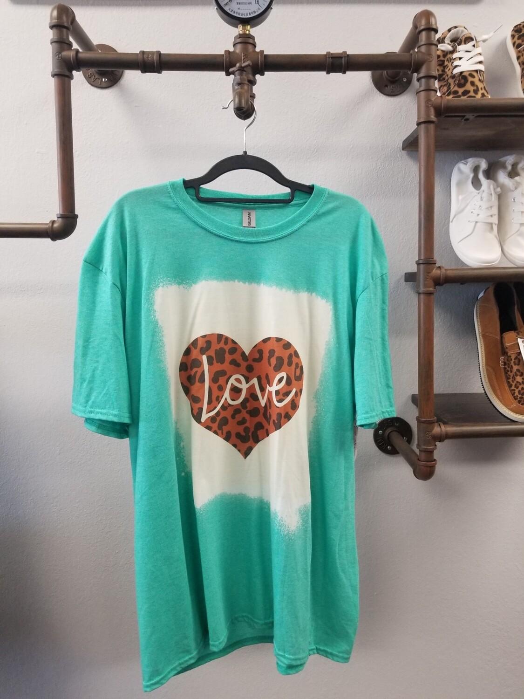 Green & Bleached Leopard Heart Shirt Size XL