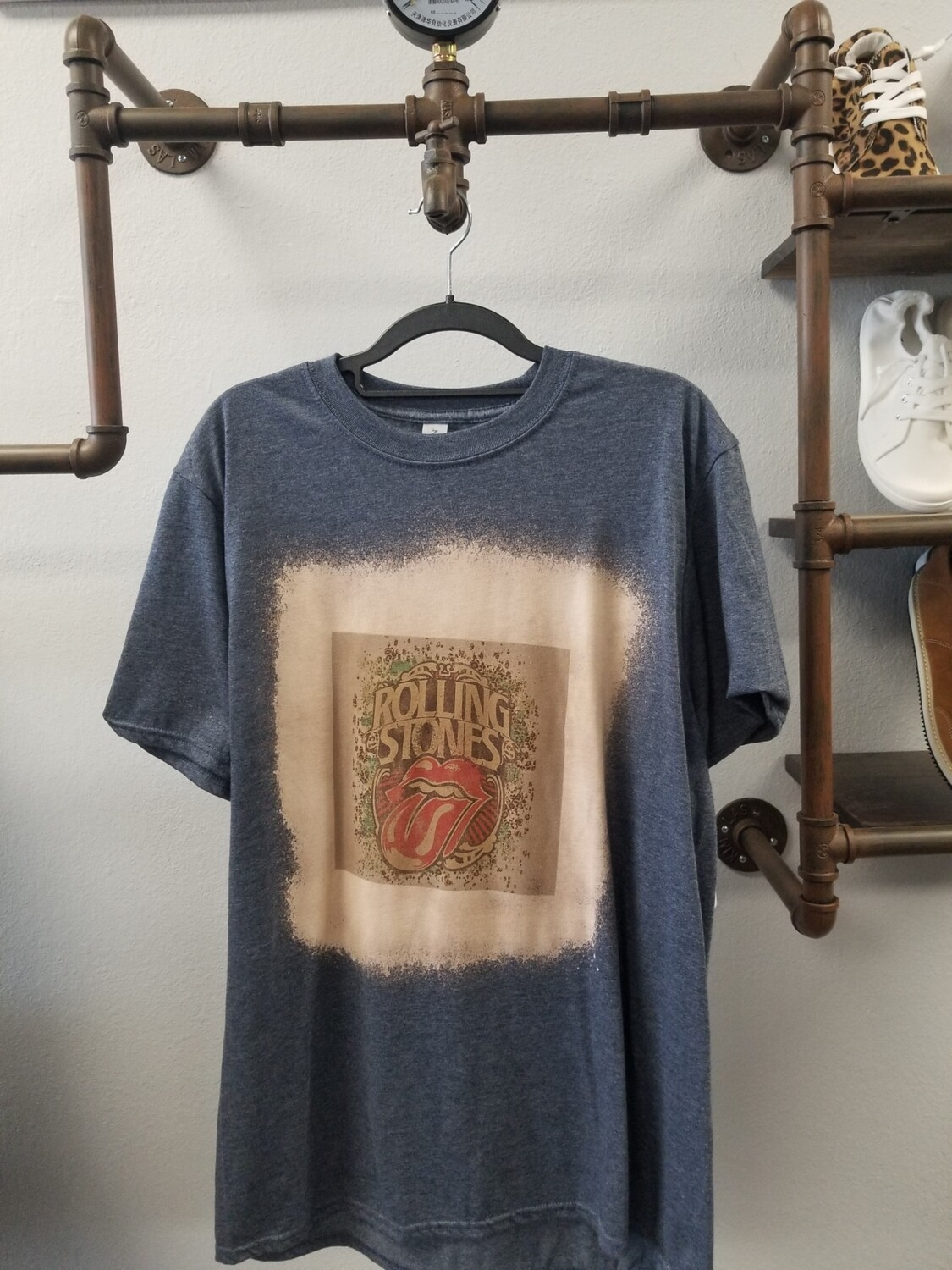 Gray & Bleached Antiqued Rolling Stones Shirt Size L
