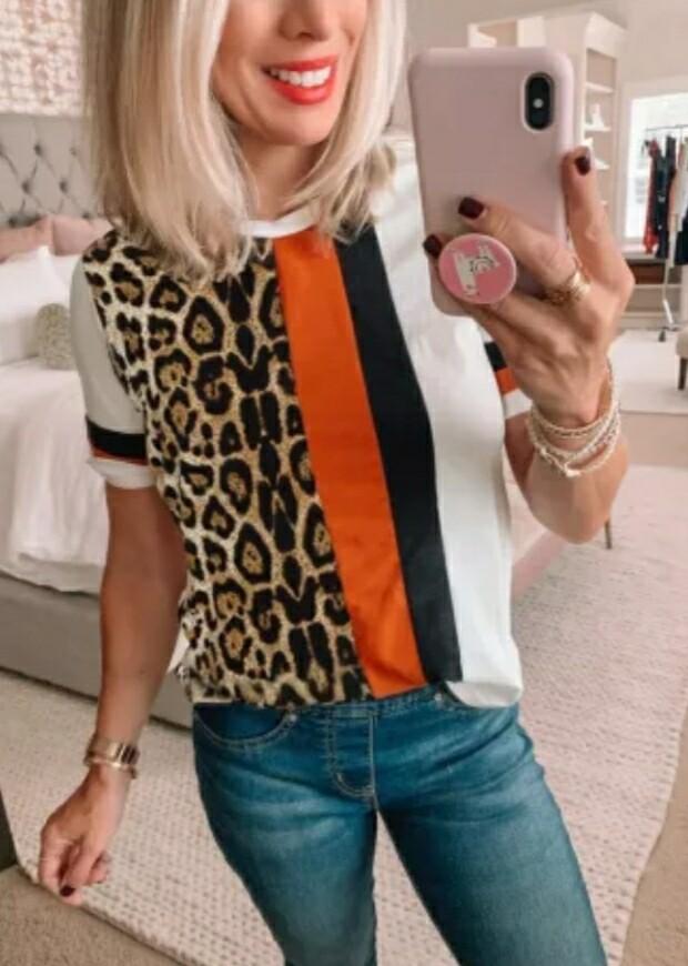 Leopard Colorblock Mixed Print Shirt