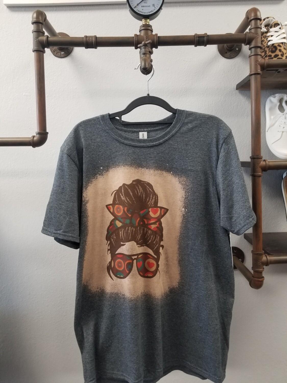 Gray & Bleached Mom Bun Shirt Size M