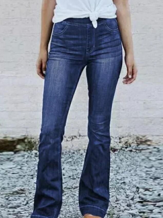 Blue High Rise Elastic Waist Flare Jeans