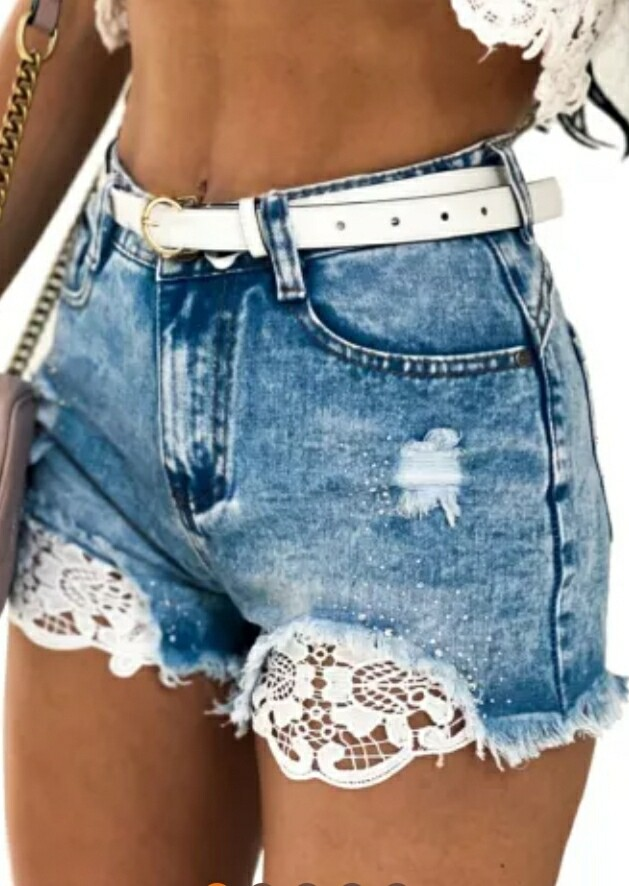 Lace Rhinestone Decor Frayed Hem Shorts