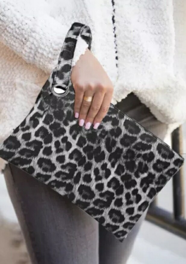 Gray Trendy Leopard Cluch