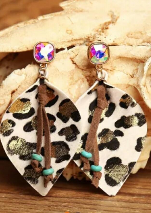 BOHO Leopard Rhinestone Earring's