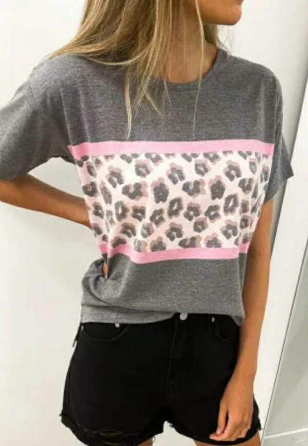 Gray Leopard Panel Shirt