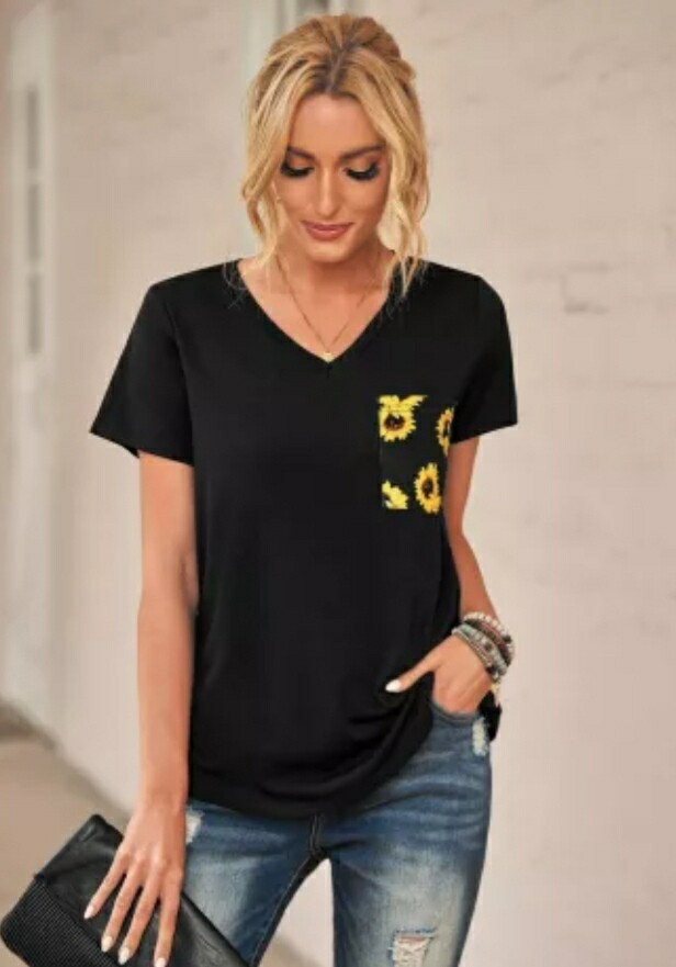 Black Shirt With Yellow Flower Pocket