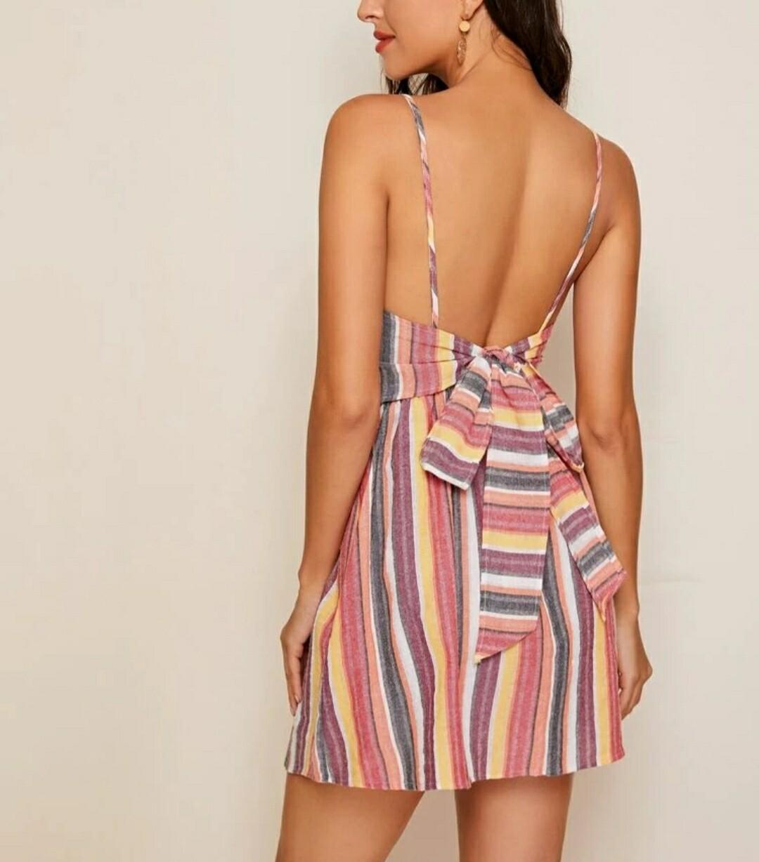 Tie Back Striped Cami Dress