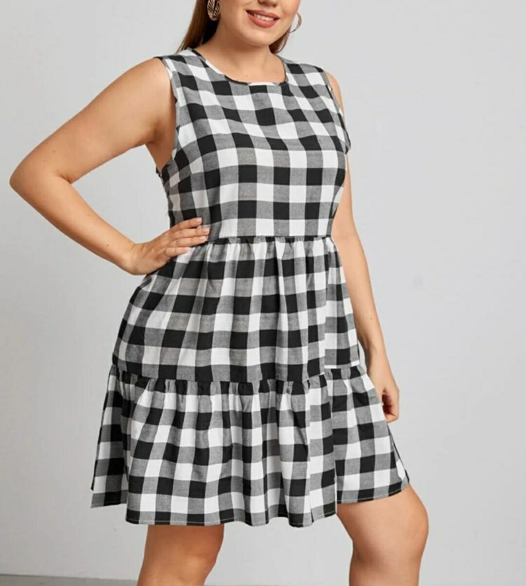 Gingham Ruffle Hem Dress