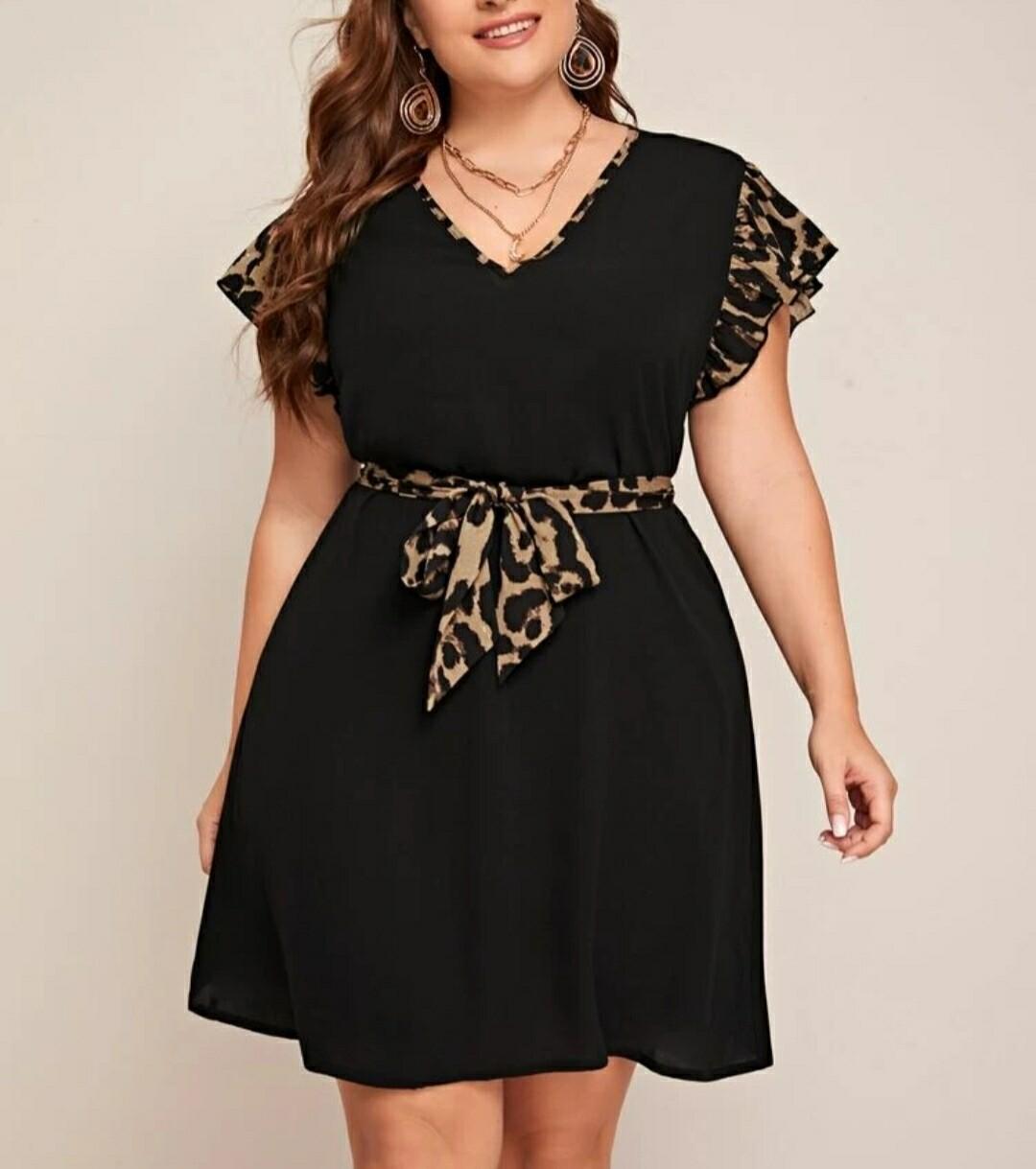 V Neck Leopard Print Belted Dress