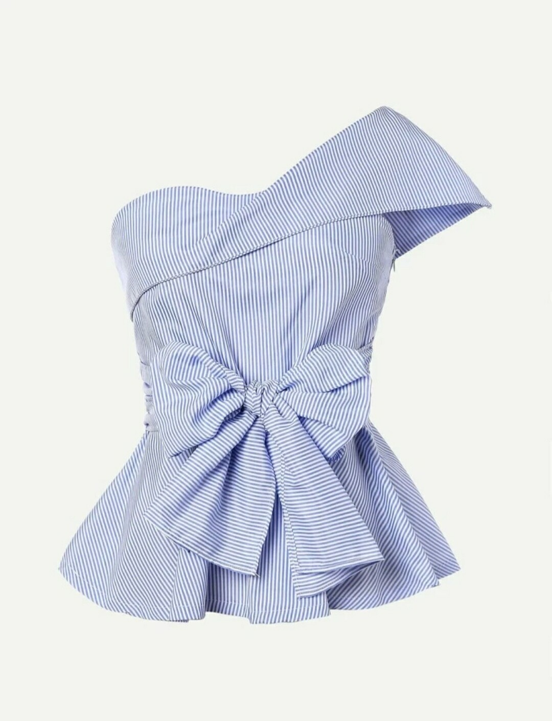 Pinstriped One Shoulder Bow Top