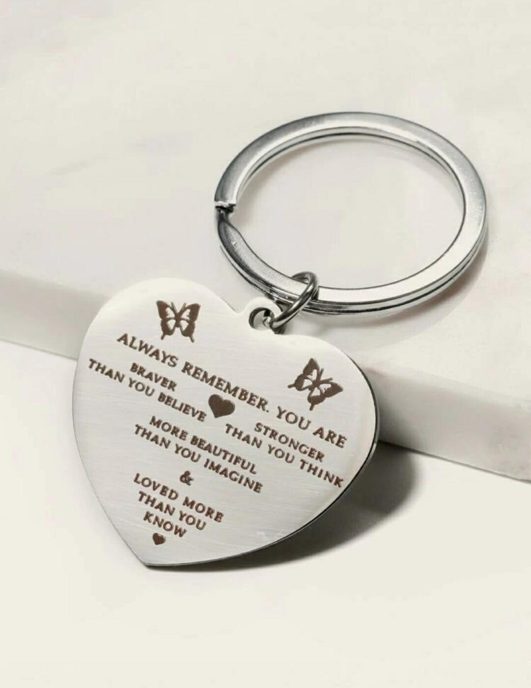Heart Slogan Charm Keychain