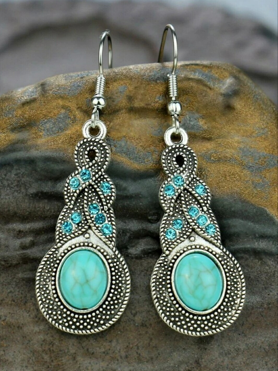 Rhinestone & Turquoise Drop Earrings