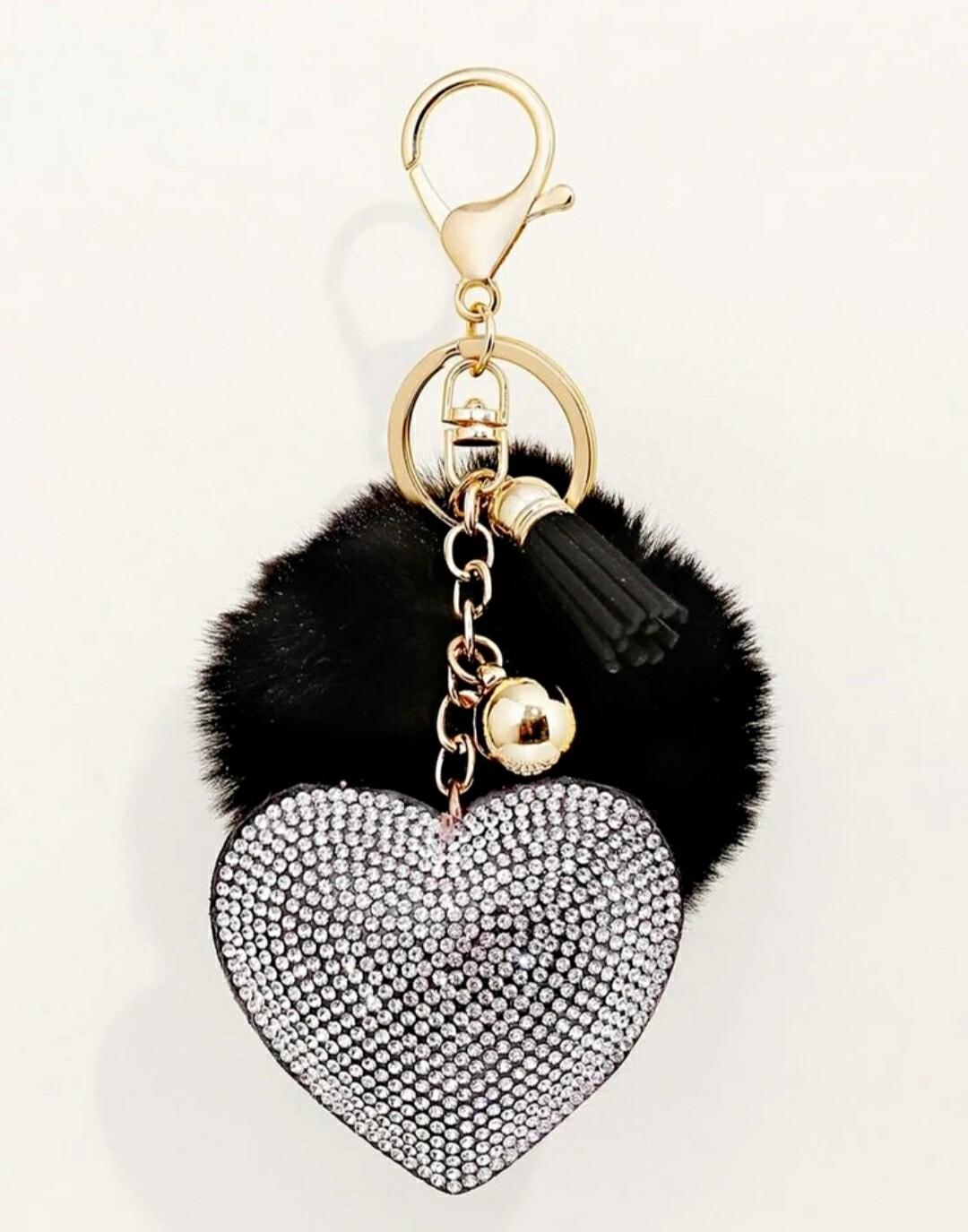 Silver Rhinestone Heart Keychain