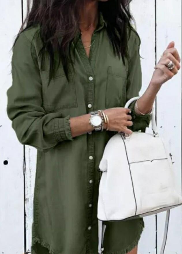 Green Denim Long Sleeve Dress