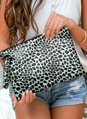 Leopard Clutch Bag With Coin Purse