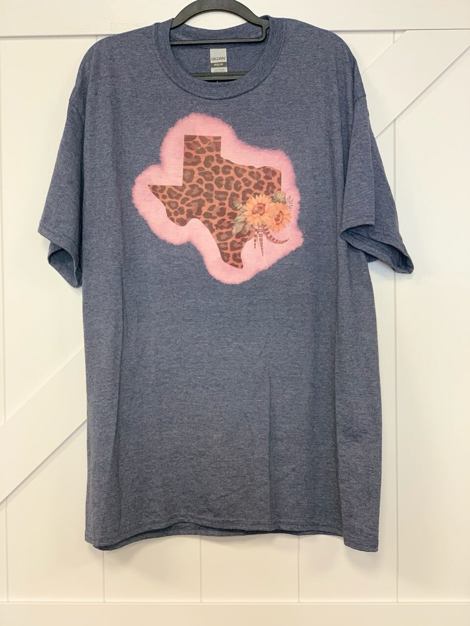 Gray & Bleached Leopard Texas Shirt Size XL
