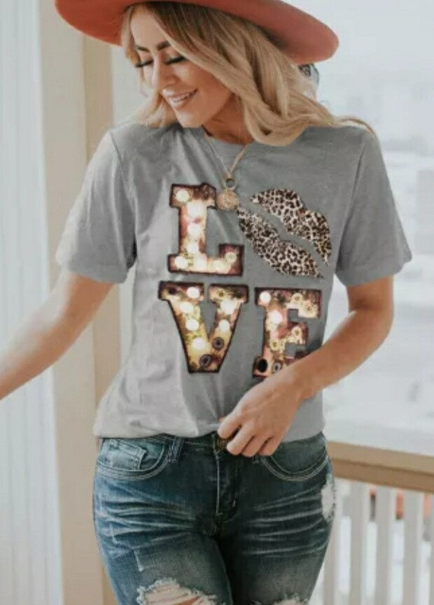 Gray Crew Neck Love Shirt Size L