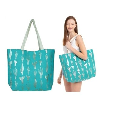 Teal With Silver Cactus Tote