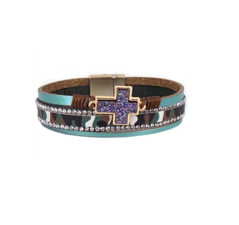 Camo & Blue Bracelet With Purple Cross