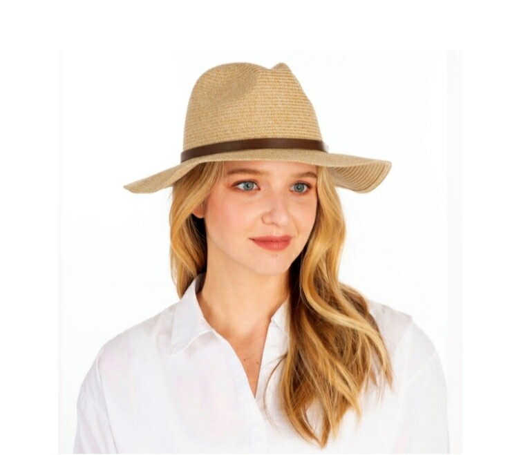 Beige Hat With Brown Band