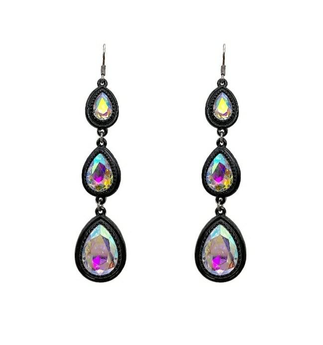 Black & Rainbow 3 Tier Earrings