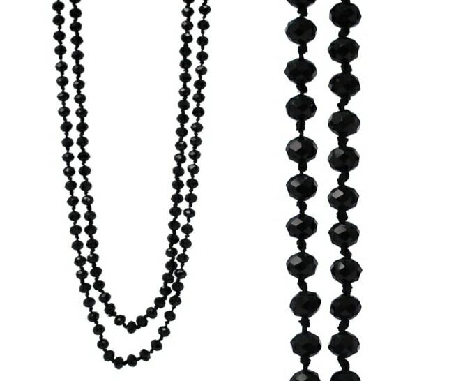 Long Black Bead Necklace