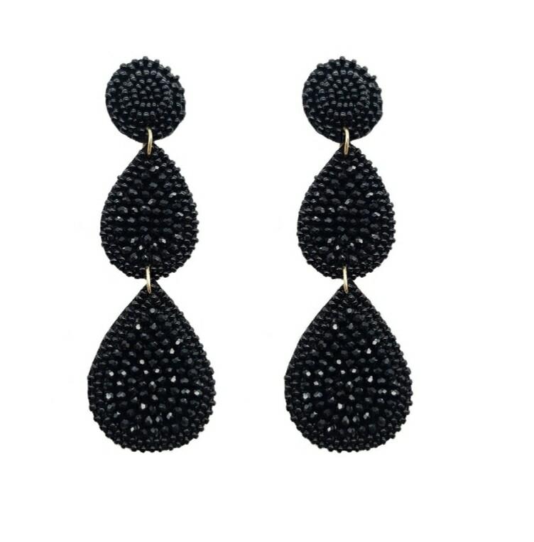 Black Beaded 3 Tier Earrings
