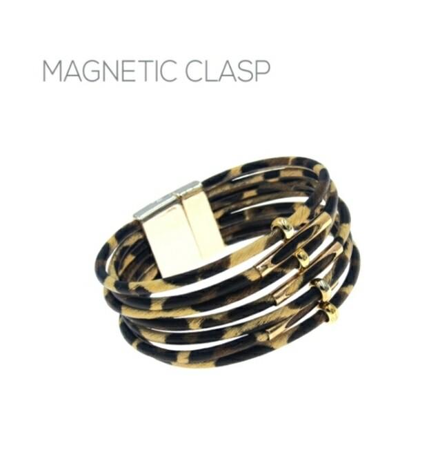 Brown Leopard Magnetic Clasp Bracelet