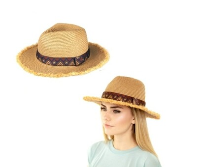 Straw Hat With Aztec Band