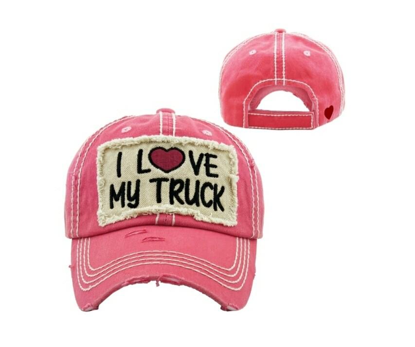 Pink I Love My Truck Cap