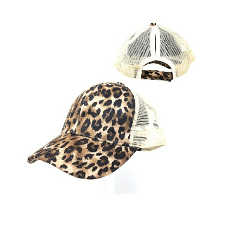 Leopard & White Cap