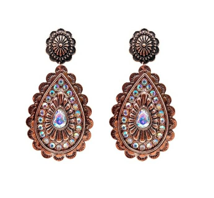 Copper Pendant Earrings