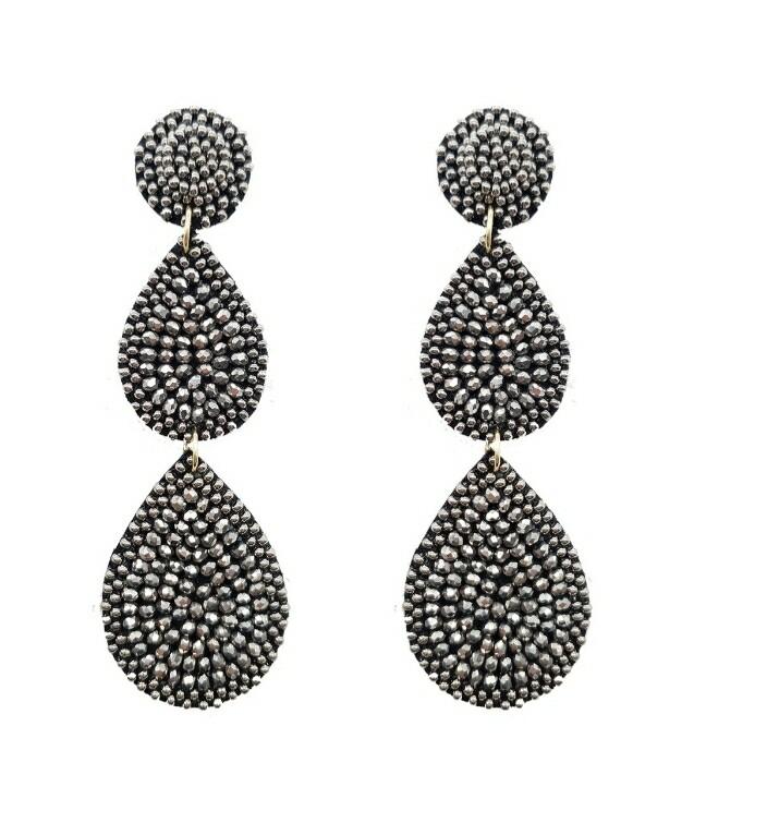Gray Beaded 3 Tier Earrings