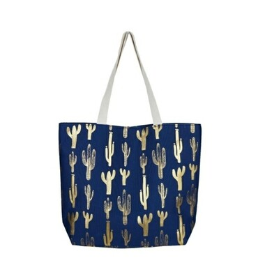 Blue With Gold Cactus Tote