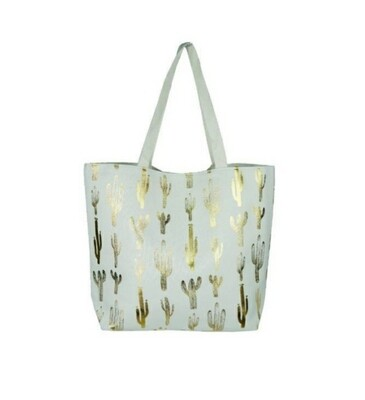 White With Gold Cactus Tote