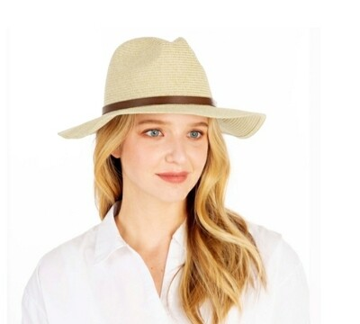 Light Beige Hat With Brown Band