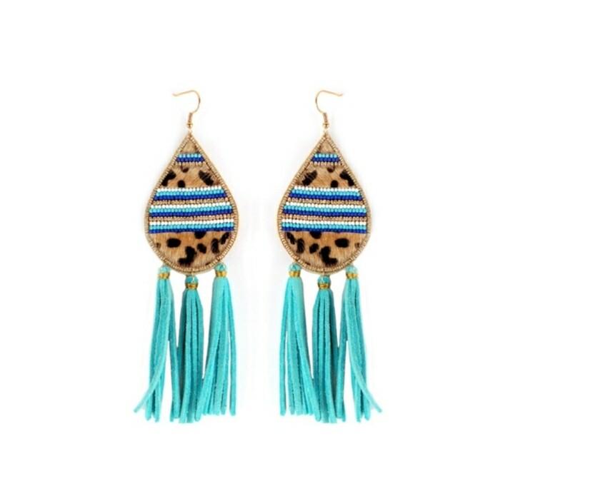 Leopard & Blue Tassel Earrings