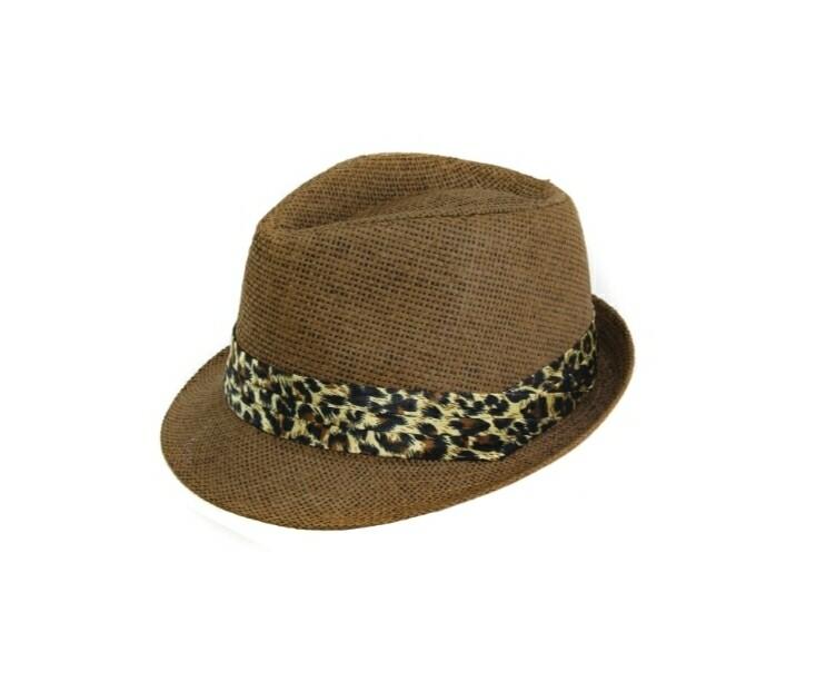 Dark Brown With Leopard Band Fedora Hat