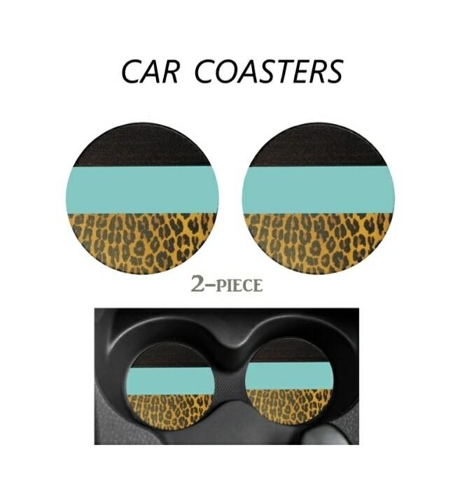 Black,blue & Leopard Car Coasters