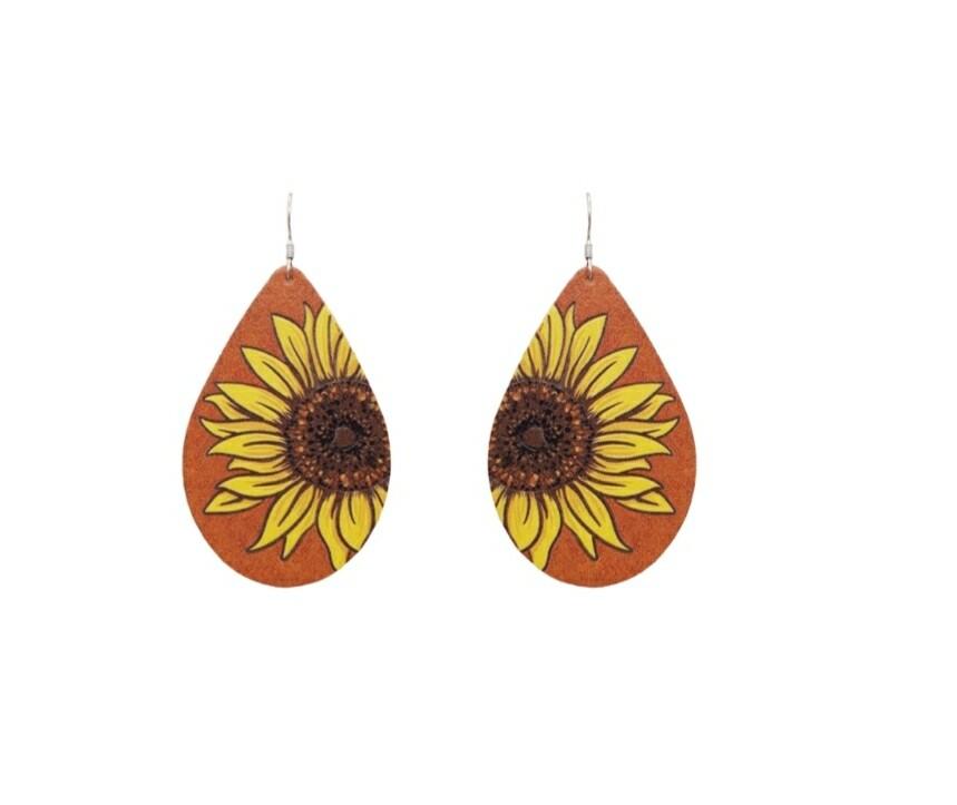 Orange Sunflower Leather Earrings